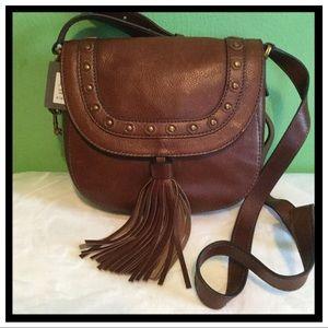 NWT Fossil Emi Leather Saddle Bag